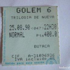Cine: ENTRADA CINES GOLEM PAMPLONA - 1990 - PELICULA TRILOGIA DE NUEVA YORK. Lote 220136611
