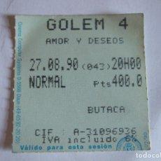 Cine: ENTRADA CINES GOLEM PAMPLONA - 1990 - PELICULA AMOR Y DESEOS. Lote 220136653