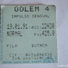 Cine: ENTRADA CINES GOLEM PAMPLONA - 1991 - PELICULA IMPULSO SENSUAL. Lote 220136967
