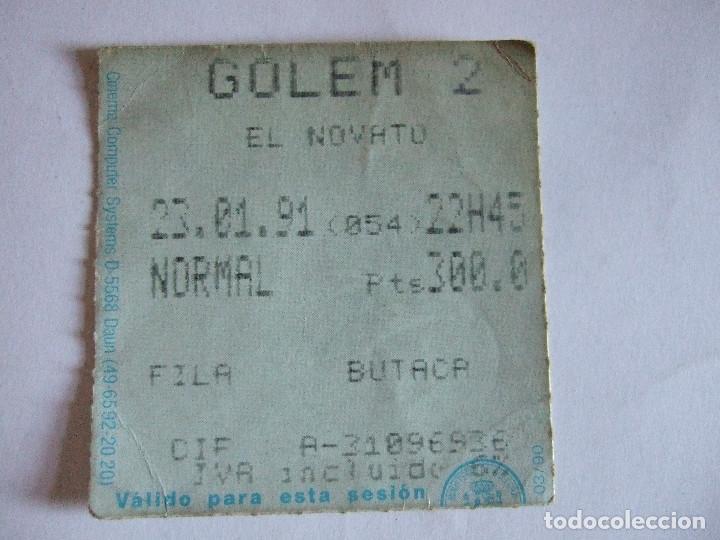 ENTRADA CINES GOLEM PAMPLONA - 1991 - PELICULA EL NOVATO (Cine - Entradas)