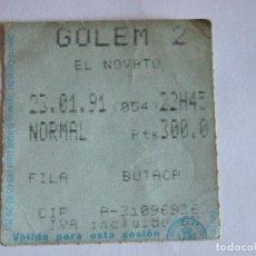 Cine: ENTRADA CINES GOLEM PAMPLONA - 1991 - PELICULA EL NOVATO. Lote 220137006