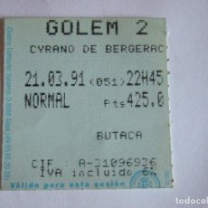 Cine: ENTRADA CINES GOLEM PAMPLONA - 1991 - PELICULA CYRANO DE BERGERAC. Lote 220137158