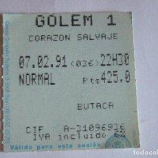 Cine: ENTRADA CINES GOLEM PAMPLONA - 1991 - PELICULA CORAZON SALVAJE. Lote 220137235