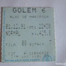 Cine: ENTRADA CINES GOLEM PAMPLONA - 1991 - PELICULA ALAS DE MARIPOSA. Lote 220137273