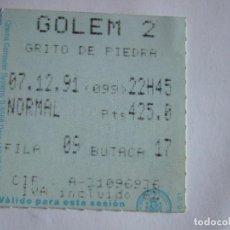 Cine: ENTRADA CINES GOLEM PAMPLONA - 1991 - PELICULA GRITO DE PIEDRA. Lote 220137305