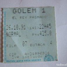 Cine: ENTRADA CINES GOLEM PAMPLONA - 1991 - PELICULA EL REY PASMADO. Lote 220169162