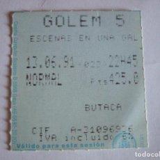 Cine: ENTRADA CINES GOLEM PAMPLONA - 1991 - PELICULA ESCENAS EN UNA GALERIA. Lote 220169375
