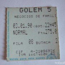 Cine: ENTRADA CINES GOLEM PAMPLONA - 1990 - PELICULA NEGOCIOS DE FAMILIA. Lote 220169908