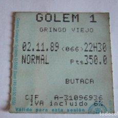 Cine: ENTRADA CINES GOLEM PAMPLONA - 1989 - PELICULA GRINGO VIEJO. Lote 220170537