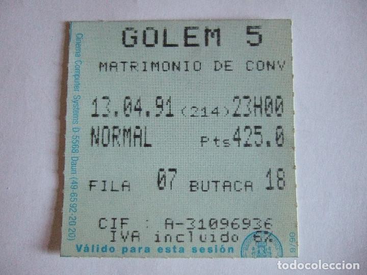 ENTRADA CINES GOLEM PAMPLONA - 1991 - PELICULA MATRIMONIO DE CONVENIENCIA (Cine - Entradas)