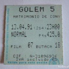 Cine: ENTRADA CINES GOLEM PAMPLONA - 1991 - PELICULA MATRIMONIO DE CONVENIENCIA. Lote 220171023