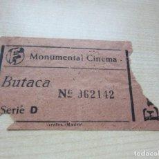 Cine: ENTRADA MONUMENTAL CINEMA DE MADRID AÑOS 40. Lote 220258376