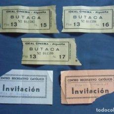Cinéma: ENTRADAS IDEAL CINEMA Y CENTRO RECREATIVO CATOLICO, AÑOS 60. ALGUEÑA (ALICANTE). Lote 220387673
