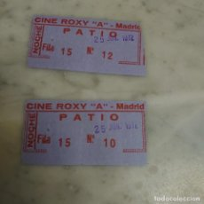 "Cine: PRPM 65 2 ENTRADAS CINE ROXY ""A"" PATIO. 25 JUNIO 1972. Lote 220435282"
