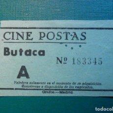 Cinéma: ENTRADA DE CINE - CINE POSTAS - MADRID - BUTACA - AÑOS 50´S 60´S. Lote 220976766