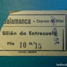 Cinéma: ENTRADA DE CINE - CINE SALAMANCA - MADRID - SILLÓN DE ENTRESUELO - AÑOS 50´S - 30 MARZO 1952. Lote 220999122