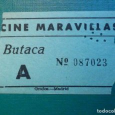 Cinéma: ENTRADA DE CINE - MARAVILLAS - MADRID - BUTACA A - VERDE - AÑOS 50´S 60´S. Lote 220999721