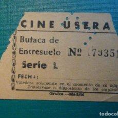 Cinéma: ENTRADA DE CINE - CINE USERA - MADRID - BUTACA ENTRESUELO - AÑOS 50S 60S - NARANJA. Lote 221000182