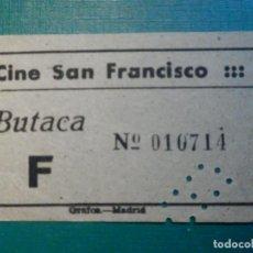 Cinéma: ENTRADA DE CINE - CINE SAN FRANCISCO - MADRID - BUTACA F - AÑOS 50S 60S - GRIS. Lote 221000511