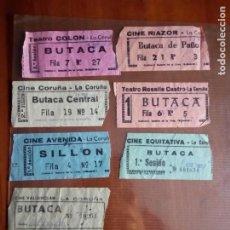 Cinéma: ENTRADAS DE SIETE CINES DE LA CORUÑA AÑOS 90. Lote 221266083