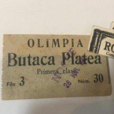 Cine: CINE /BARCELONA - ANTIGUA ENTRADA - OLIMPIA BUTACA PLATEA 1942 -9X5,5 CM. Lote 221671348