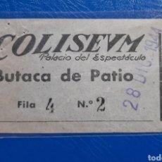 Cinéma: ENTRADA CINE COLISEUM 1944. MADRID. Lote 222626280