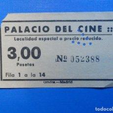 Cine: ENTRADA CINE - PALACIO DEL CINE - LOCALIDAD ESPECIAL A PRECIO REDUCIDO 3 PESETAS, MADRID - AÑOS 50´S. Lote 222669556