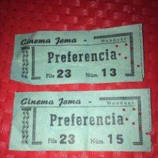 Cinéma: CINE JEMA - MONOVAR ( ALICANTE ) - 2 ENTRADAS - AÑOS 60. Lote 223700128