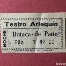 Cinéma: ENTRADA TEATRO ARLEQUÍN , AÑOS 60 , MADRID , BUTACA DE PATIO. Lote 224572285