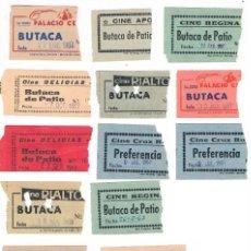 Cine: LOTE 13 ENTRADAS CINES DE SEVILLA DELICIAS APOLO REGINA RIALTO CRUZ ROJA BECQUER PALACIO. Lote 227737360