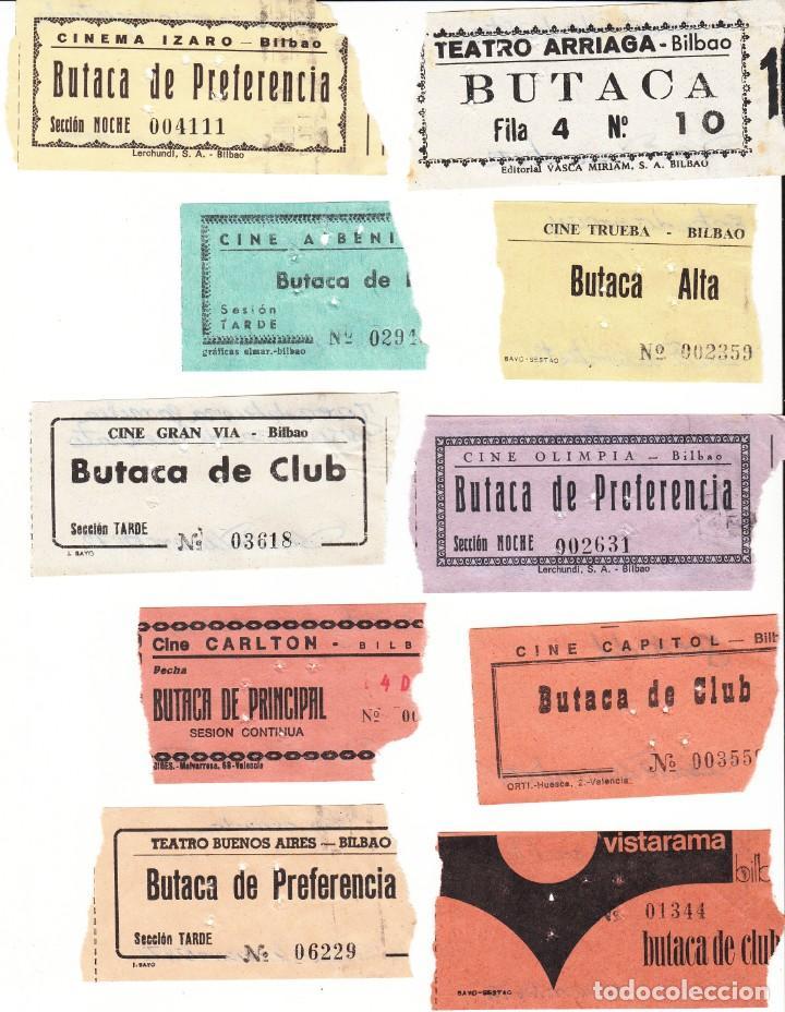 10 ENTRADAS DE CINES DE BILBAO AÑO 1972 / REVERSO CON FECHA Y PELICULA A MANO (Cine - Entradas)