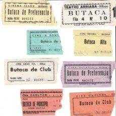 Cinéma: 10 ENTRADAS DE CINES DE BILBAO AÑO 1972 / REVERSO CON FECHA Y PELICULA A MANO. Lote 229908200