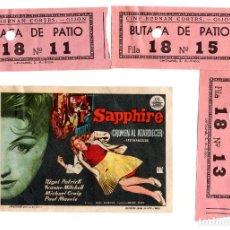 Cinéma: GIJÓN.(ASTURIAS).- 3 ENTRADAS DE CINE HERNAN CORTES. Y FOLLETO DE MANO CIFESA. SAPPHIRE.. Lote 231980970