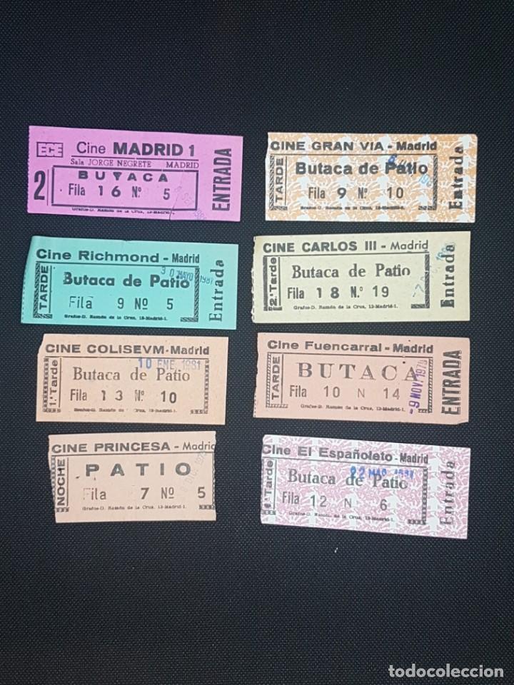 COLECCIÓN DE 9 ENTRADAS DE SALAS DE CINE DIFERENTES DE MADRID AÑOS 70 Y 80 (Cine - Entradas)
