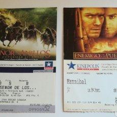 Cinéma: DOS 2 ENTRADAS CINE KINEPOLIS EL SEÑOR DE LOS ANILLOS HANNIBAL. Lote 236733945