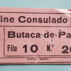 Cinema: TICKET ENTRADA DE CINE CONSULADO. MADRID.. Lote 240589660