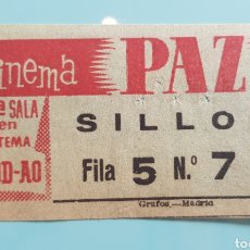 Cinema: TICKET ENTRADA CINEMA PAZ. MADRID. AÑOS 60.. Lote 240614245