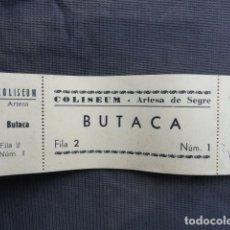 Cine: TALONARIO ENTRADAS CINE COLISEUM. ARTESA DE SEGRE. LLEIDA.. Lote 243251300