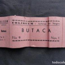 Cine: TALONARIO ENTRADAS CINE COLISEUM. ARTESA DE SEGRE. LLEIDA.. Lote 243252170