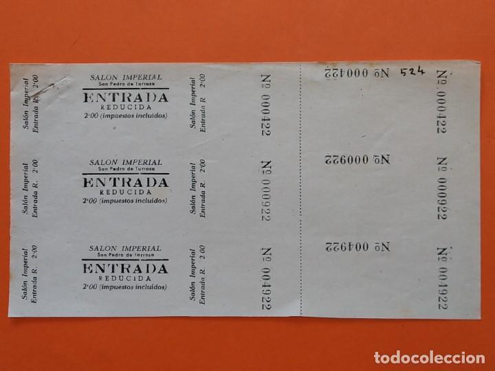 3 ENTRADAS CINE SALON IMPERIAL - SAN PEDRO DE TARRASA, TERRASSA, AÑOS 40 - HOJA SIN CORTAR...L3561 (Cine - Entradas)