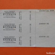 Cine: 3 ENTRADAS CINE SALON IMPERIAL - SAN PEDRO DE TARRASA, TERRASSA, AÑOS 40 - HOJA SIN CORTAR...L3561. Lote 247862250
