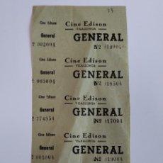 Cinéma: 5 ENTRADAS CINE EDISON - VILALLONGA - AÑOS 40 - HOJA SIN CORTAR...L3567. Lote 247916140