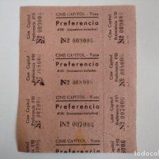 Cine: 3 ENTRADAS CINE CAPITOL - TONA (BARCELONA)- AÑOS 40 - HOJA SIN CORTAR...L3568. Lote 247917120