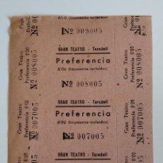 Cine: 3 ENTRADAS GRAN TEATRO - TARADELL ( BARCELONA) - AÑOS 40 - HOJA SIN CORTAR...L3570. Lote 247917645