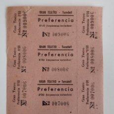 Cine: 4 ENTRADAS GRAN TEATRO - TARADELL ( BARCELONA) - AÑOS 40 - HOJA SIN CORTAR...L3571. Lote 247918120