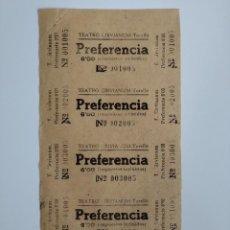 Cine: 5 ENTRADAS TEATRO CIRVIANUM - TORELLÓ (BARCELONA) - AÑOS 40 - HOJA SIN CORTAR...L3578. Lote 247934780