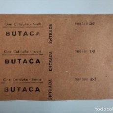 Cine: 3 ENTRADAS CINE CATALUÑA - TORELLÓ (BARCELONA) - AÑOS 40 - HOJA SIN CORTAR...L3580. Lote 247937385