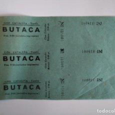 Cine: 3 ENTRADAS CINE CATALUÑA - TORELLÓ (BARCELONA) - AÑOS 40 - HOJA SIN CORTAR...L3581. Lote 247937605