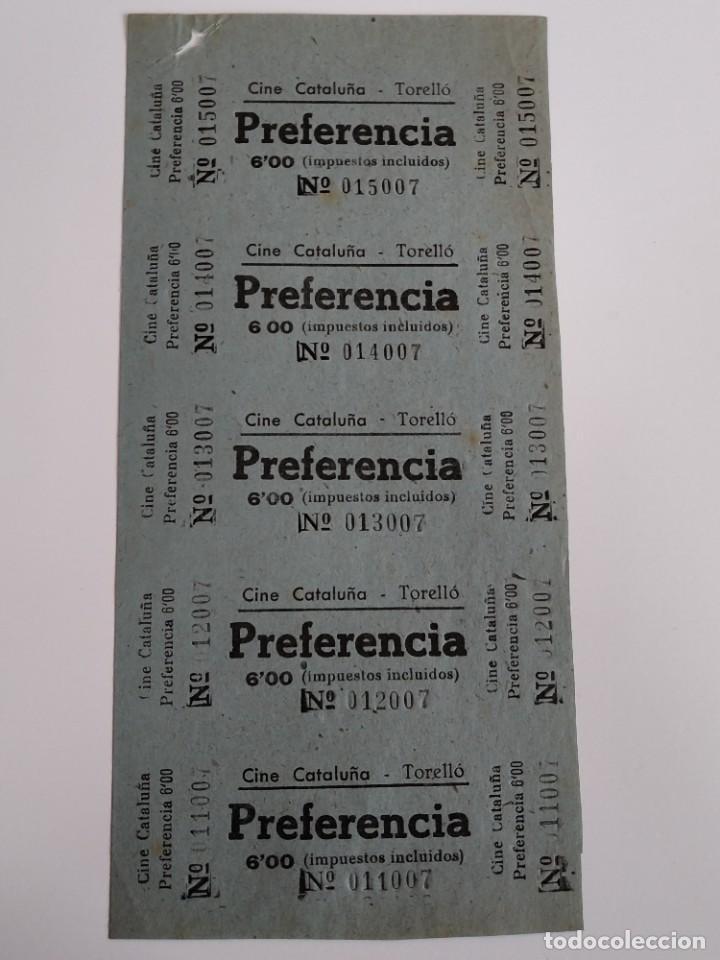 5 ENTRADAS CINE CATALUÑA - TORELLÓ (BARCELONA) - AÑOS 40 - HOJA SIN CORTAR...L3582 (Cine - Entradas)