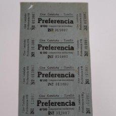 Cine: 5 ENTRADAS CINE CATALUÑA - TORELLÓ (BARCELONA) - AÑOS 40 - HOJA SIN CORTAR...L3582. Lote 247938025